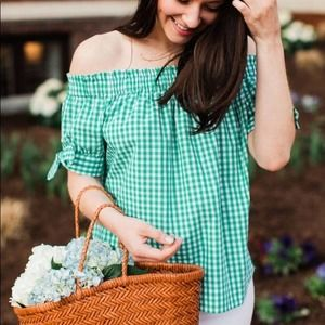 J. Crew White Green Gingham Off the Shoulder Top